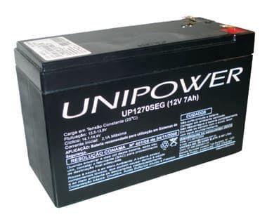 Bateria 12V 7A Selada Recarregável Unipower. Bateria selada 12V. 7Ah, Utilizadas em equipamentos eletrônicos, tais como: Centrais de alarme, Cercas Elétricas e outros equipamentos. Garantia 3 meses.