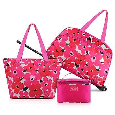 Conjunto de Mala/Bolsa de 3 Peças Poliéster Jacki Design Papoula Pink