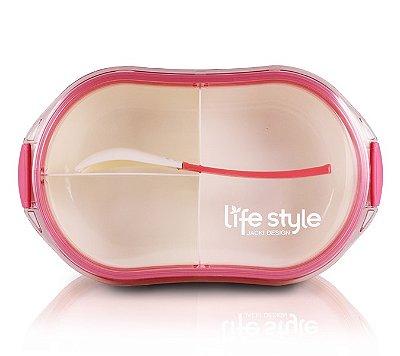 Pote Marmita com 3 Compartimentos 1200ML Jacki Design Lifestyle Pink