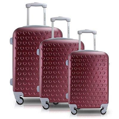 Conjunto de Mala de Viagem 3 Peças Love ABS Jacki Design Viagem Vermelho