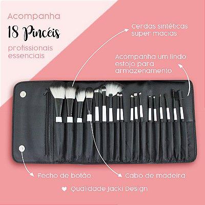 Kit de 18 Pincéis Profissionais com Estojo Cerdas Sintéticas Jacki Design Pincéis Profissionais Preto