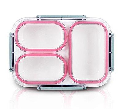 Pote Marmita com 3 Compartimentos 1590ML Tampa: AS, Marmita: PP Jacki Design Lifestyle Pink