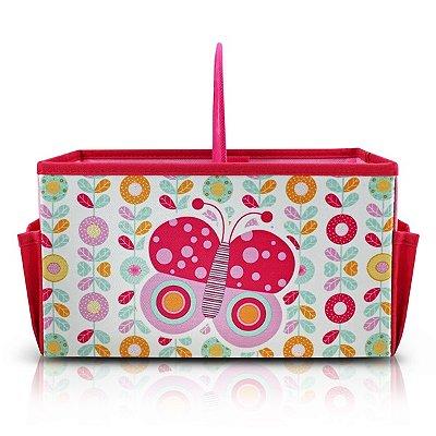 Caixa Organizadora Infantil com Alça Material Externo: Tecido; Material Interno: Papelão Jacki Design Pequeninos