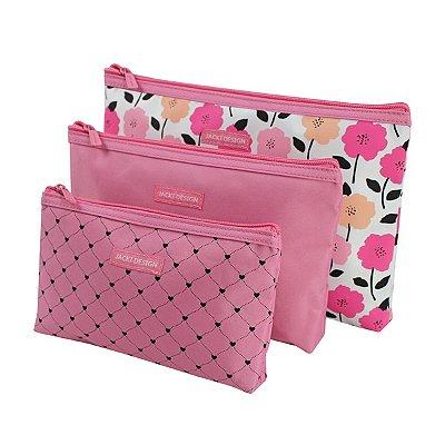 Kit de Necessaire de 3 Peças Poliéster Jacki Design Pink Lover
