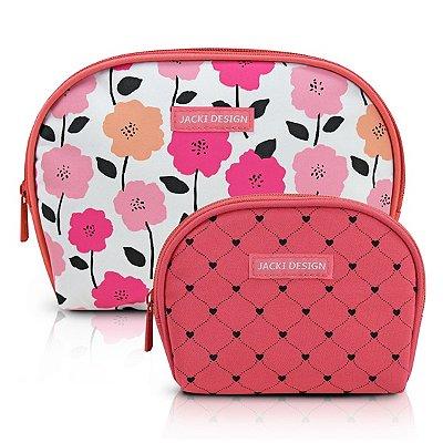 Kit de Necessaire de 2 Peças Poliéster Jacki Design Pink Lover