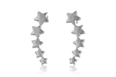 Brinco Ear Cuff de Estrelas Folheado em Ródio Branco