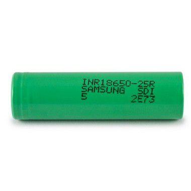 Bateria 18650 Samsung 25R Li-Ion INR 18650 25R R5 3.6V 2500mAh High Drain 20A Flat Top