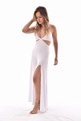 Vestido longo branco recortes