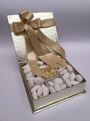 Caixa Cocco Dourada 9 divisões 360 gr amêndoas confeitadas sabores variados
