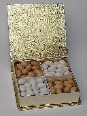 Caixa Cocco Dourada media 4 divisões 480 gr amêndoas confeitadas sabores variados