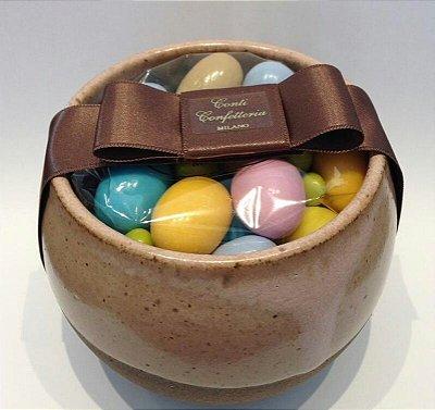 Bowl de ceramica redondo com 200gr de amendoas sabores e cores variados