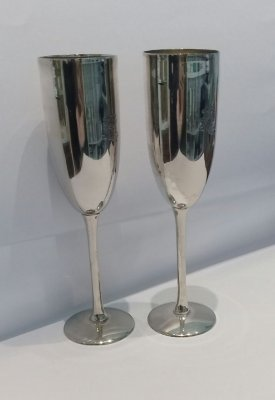 Dupla de taça redonda prata sheffield 21 x 5 cm