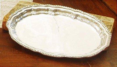 Bandejinha prata sheffield M 18 x 12 x 2 cm
