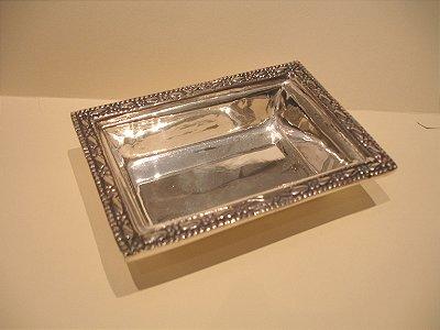 Tigela retangular P de prata sheffield 11 x 8 x 3 cm