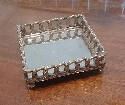 Suporte quadrado para garrafa em prata sheffield 10 x 10 x 3 cm