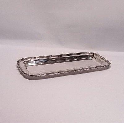 Bandejinha em prata retangular 19 x 8 x 1 cm