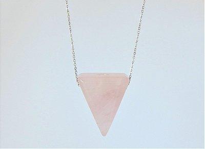 Colar Difusor Pessoal Triângulo - Quartzo Rosa