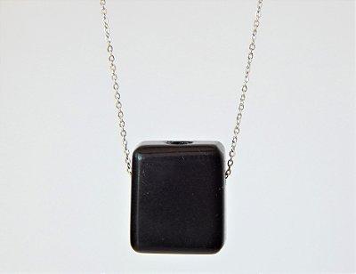 Colar Difusor Pessoal Retângulo - Obsidiana