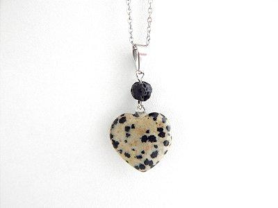 Colar Difusor Pessoal Coração de Capricórnio - Pedra Dálmata