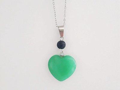Colar Difusor Pessoal Coração de Capricórnio - Jade Malasiana