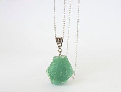 Colar Difusor Pessoal de Pedra Natural Bruta - Quartzo Verde