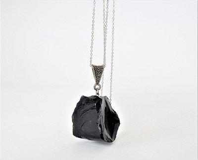 Colar Difusor Pessoal de Pedra Natural Bruta - Obsidiana
