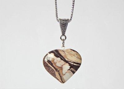 Colar Coração de Pedra - Jaspe Brecha