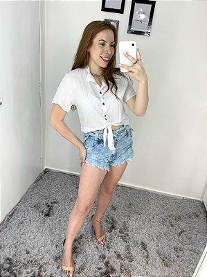 Shorts Jeans Cos Alto e Desfiado (Sem Lycra)