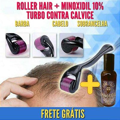 Combo Roller Hair Microagulhamento e Minoxidil Tônico Loção Capilar Contra Calvice Turbo 10%
