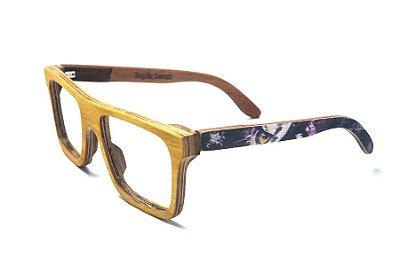 Armação de Óculos de Madeira de Grau 40Collors Graffiti Observador Beagle Amarelo