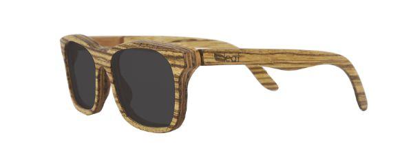 Óculos de Sol de Madeira Leaf Eco Groove Zebrano