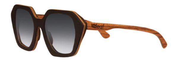 Óculos de Sol de Madeira Leaf Eco Stone Preto Zebrano