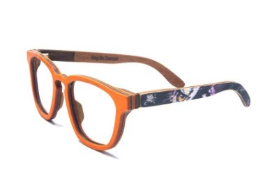 Armação de Óculos de Madeira de Grau 40Collors Graffiti Observador Charles Laranja