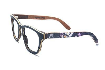 Armação de Óculos de Madeira de Grau 40Collors Graffiti Observador Charles Preto