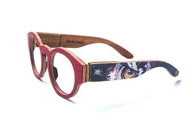 Armação de Óculos de Madeira de Grau 40Collors Graffiti Observador Pelican Vermelho