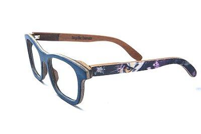 Armação de Óculos de Madeira de Grau 40Collors Graffiti Observador Groove Azul Escuro