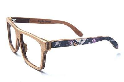 Armação de Óculos de Madeira de Grau 40Collors Graffiti Observador Beagle Cerejeira