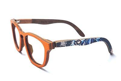 Armação de Óculos de Madeira de Grau 40Collors Graffiti Predador Charles Laranja