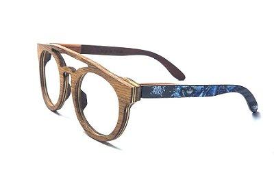 Armação de Óculos de Madeira de Grau 40Collors Graffiti Predador Eleanor Cerejeira