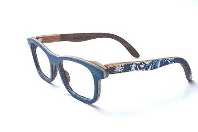 Armação de Óculos de Madeira de Grau 40Collors Graffiti Predador Groove Azul Escuro