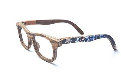 Armação de Óculos de Madeira de Grau 40Collors Graffiti Predador Groove Zebrano
