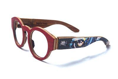 Armação de Óculos de Madeira de Grau 40Collors Graffiti Predador Pelican Vermelho