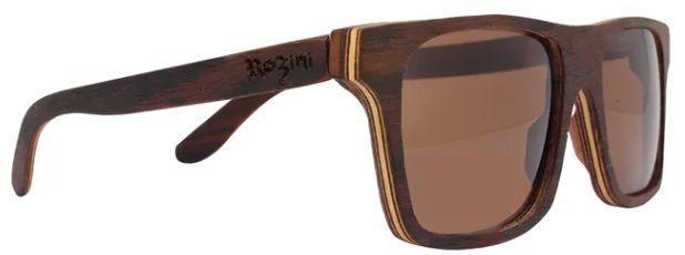Óculos de Sol de Madeira Leaf Eco Rozini Beagle Louro Preto