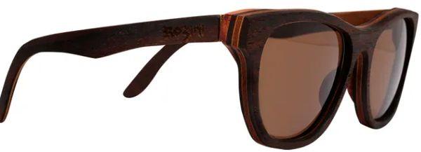 Óculos de Sol de Madeira Leaf Eco Rozini Drop Louro Preto