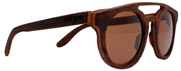 Óculos de Sol de Madeira Leaf Eco Rozini Eleanor Louro Preto