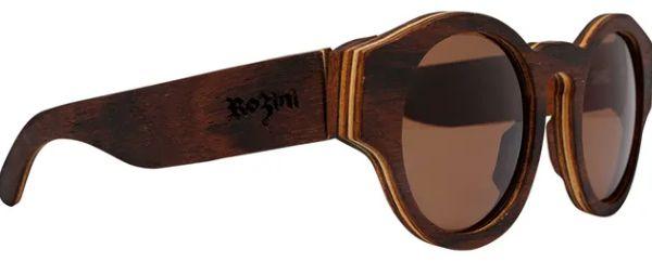 Óculos de Sol de Madeira Leaf Eco Rozini Pelican Louro Preto