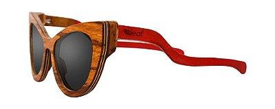 Óculos de Sol de Madeira Leaf Eco Thunder Zebrano Vermelho