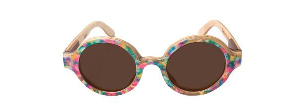 Óculos de Sol de Madeira com Palheta de Guitarra Colorida Leaf Eco Layla Lente Marrom
