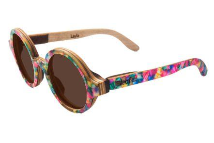 Óculos de sol de madeira com palheta de guitarra colorida Leaf Eco Layla Lente Marron