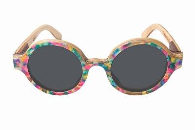 Óculos de Sol de Madeira com Palheta de Guitarra Colorida Leaf Eco Layla Lente Cinza